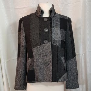 COLDWATER CREEK PATCHWORK LINED BLAZER SIZE 4P